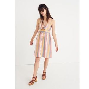 Madewell NWT Tie Cutout Dress Sherbert Stripe